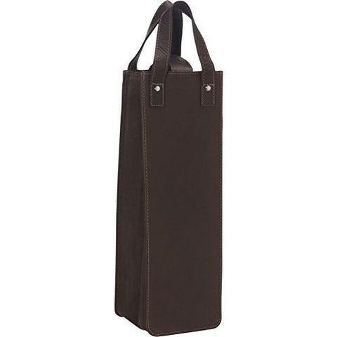 Piel Leather Single Wine Tote, Chocolate, One Size