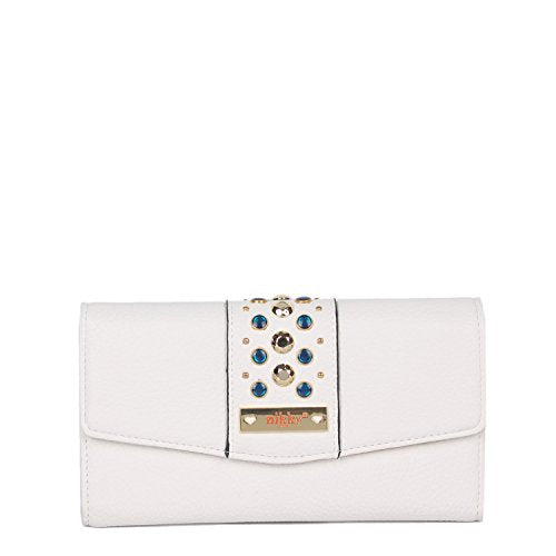 Nikky Women's Rfid Blocking Beads Wallet Clutch Travel Purse, White, One Size