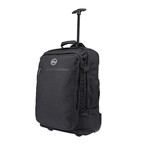 Cabin Max️ - Quebec Hybrid Rolling Backpack with Wheels - Carry On Luggage 22x14x9 Zip Out Backpack Straps - Perfect for Most Major American Airlines (Black)