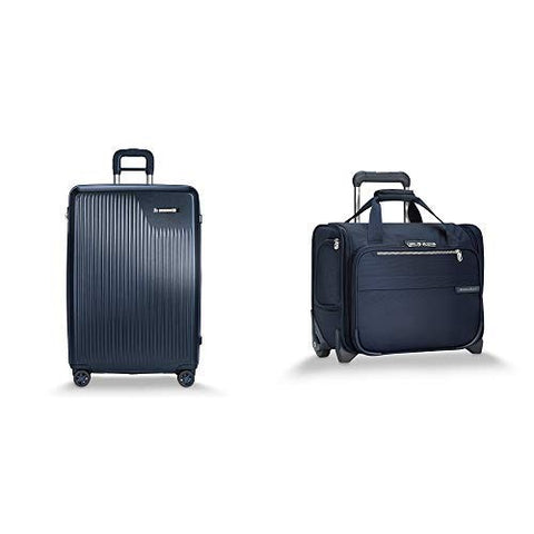 Briggs & Riley Sympatico Navy Large Expandable Spinner and Baseline Navy Rolling Cabin Bag