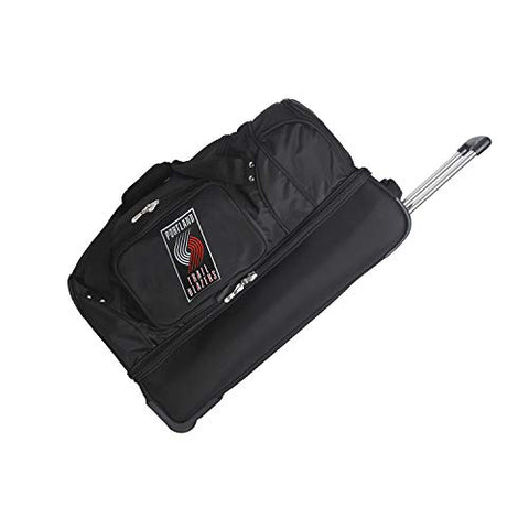 "NBA Portland Trail Blazers Rolling Drop-Bottom Duffel Bag, 27 x 16 x 14"", Black"