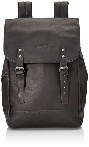 "Kenneth Cole Reaction Colombian Leather Single Compartment Flapover 14.1"" Laptop Backpack (RFID),"