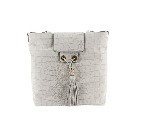 Aimee Kestenberg Leather Tote Bag- Greenpoint Ivory Croco New A289316