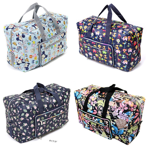 Foldable Travel Bag Women Large Capacity Portable Shoulder Duffle Bag Cartoon Printing Waterproof Weekend Luggage Tote