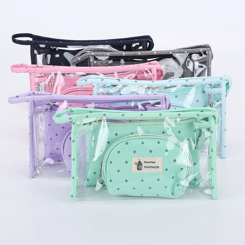 3pcs/set Wash Bag Portable Travel Comestic Bag Organizer Make Up Bag Wash Luggage Zipper
