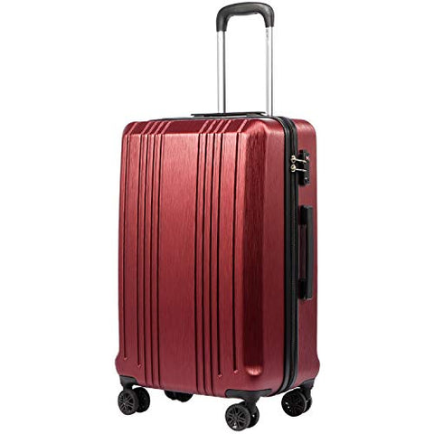 Coolife Luggage Expandable Suitcase PC+ABS with TSA Lock Spinner 20in 24in 28in (wine red, L(28IN))