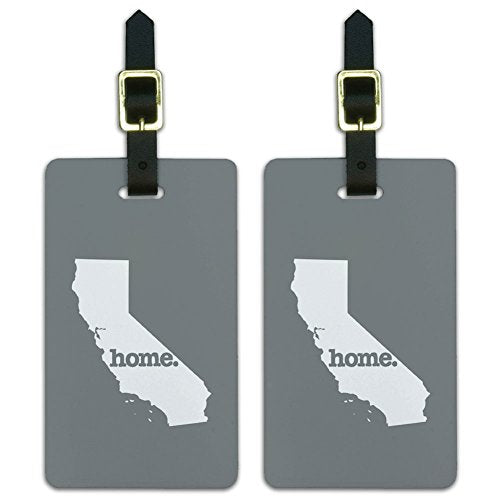Graphics & More California Ca Home State Luggage Suitcase Id Tags-Solid Grey Gray, White