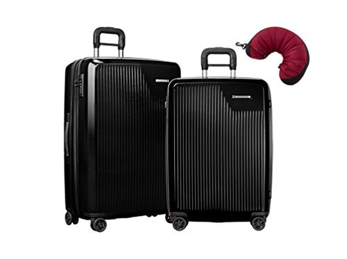 Briggs & Riley Sympatico 3 Piece Spinner Set | Medium CX Spinner | Large CX Spinner | Travel Pillow (Onyx)