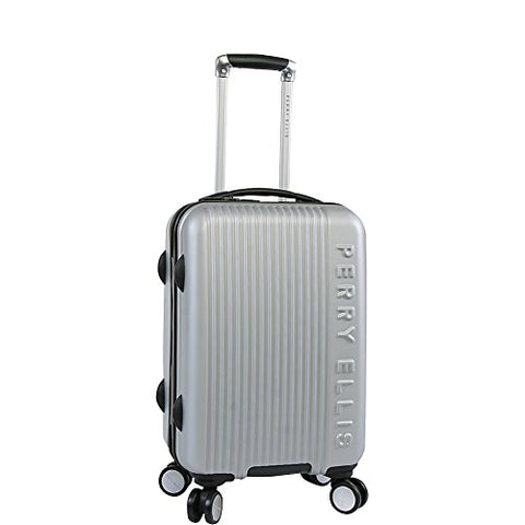 "Perry Ellis Forte Hardside Spinner Carry On Luggage 21"", Silver"