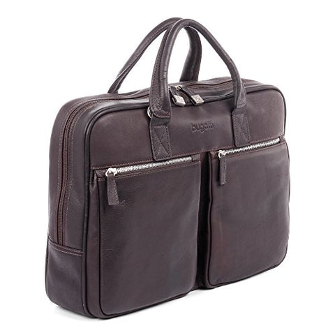 Bugatti Sartoria Medium Top Grain Leather Zipper Briefcase, Leather, Brown