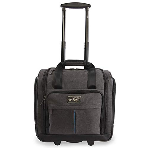 ORIGINAL PENGUIN Men's Ethan Wheeled Under The Seat Carry On Bag, Black Crosshatch