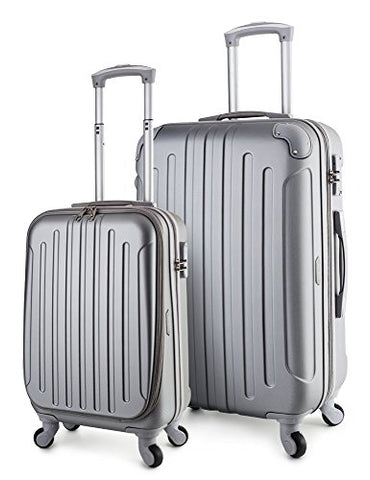 Travelcross Victoria Lightweight Hardshell Spinner Luggage (Silver, 2-Piece Set (20''/28''))