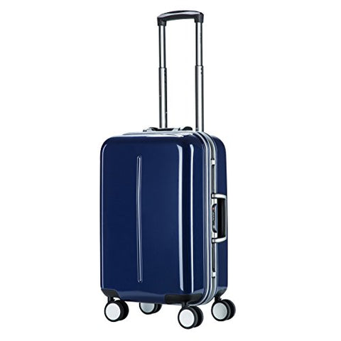"Aluminum Frame Carry On, PC Spinner Luggage, Hardside TSA Approved Suitcase 20"", Blue"