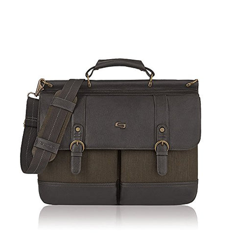 "Solo Mercer 15.6"" Laptop Briefcase, Olive/Espresso"
