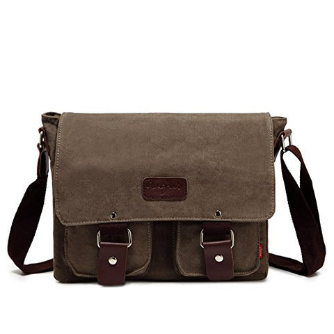 mens Small Vintage Canvas Messenger Bag Ipad Shoulder Bag Travel Portfolio Bag (2101 army green)
