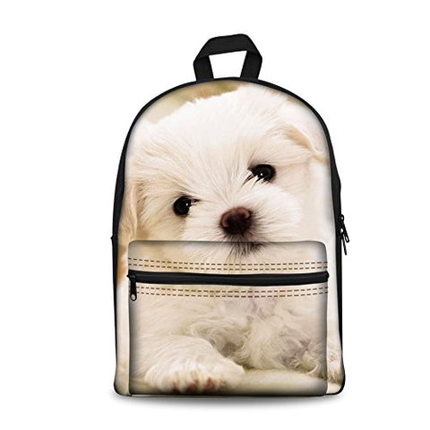 Freewander Canvas Book Bag Cute Dog Personalized Junior High School Backpack