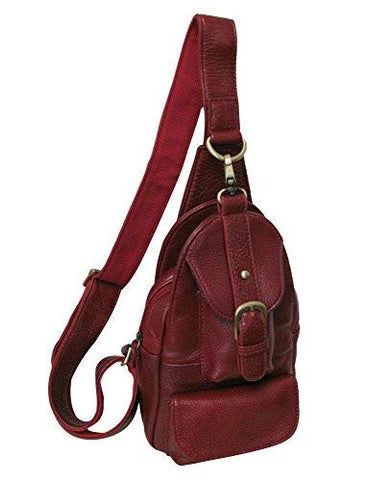 Amerileather Grylls Petite Cowhide Leather Multi-pocket Sling Backpack Burgundy