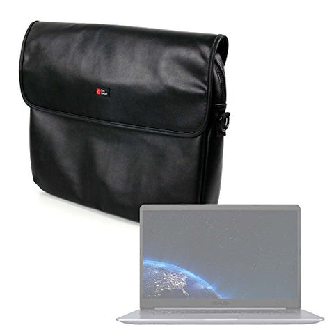 "DURAGADGET Luxury PU Leather 15.6"" Laptop Zip-up Carry Bag in Black for The Asus VivoBook"