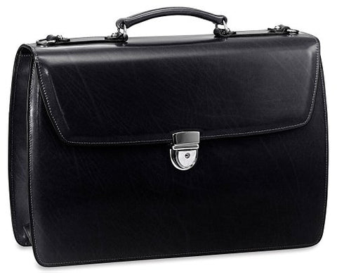 Jack Georges Mens [Personalized Initials Embossing] Elements Briefcase in Black