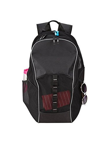 Goodhope Bags Mesh Tablet/Computer Sports Backpack With Ear Phone Outlet, Black