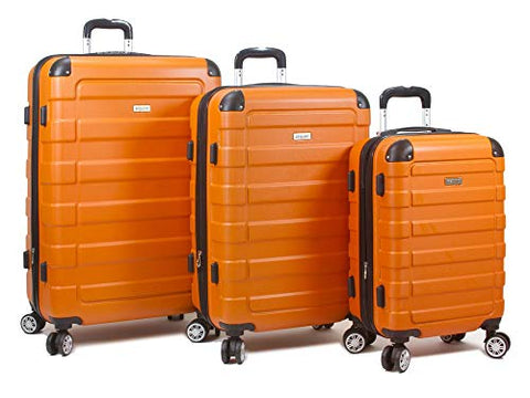 Dejuno Tahoma Lightweight 3-Piece Hardside Spinner Luggage Set-Orange
