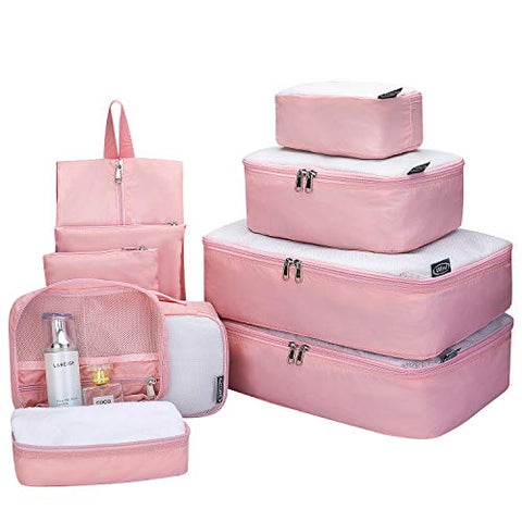 G4Free 9 Set Packing Cubes - Water Resistant Mesh Travel Luggage Accessories Packing Organizer with Shoes Bag(Pink)