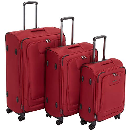 AmazonBasics Premium Expandable Softside Spinner Luggage With TSA Lock 3-Piece Set - 21/25/29-Inch, Red