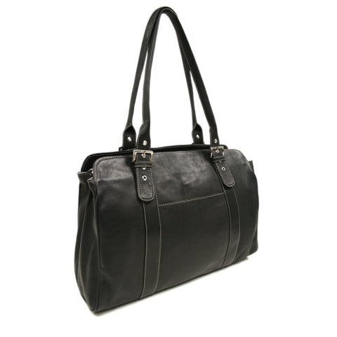 Piel Leather Ladies Buckle Laptop Tote, Black, One Size