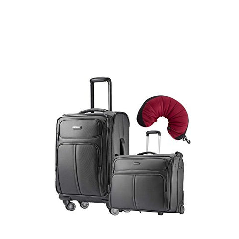 "Samsonite Leverage LTE 3 Piece Carry-On Bundle | 20"", Wheeled Garment Bag, Travel Pillow"