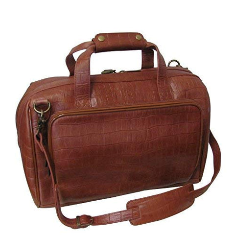 "AmeriLeather Croco-Print 16"" Leather Carry-On Weekend Duffel (Brown Croco-Print)"