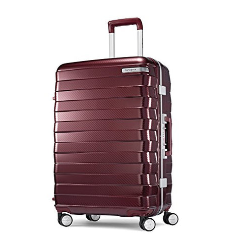 Samsonite Framelock Hardside Checked Luggage with Spinner Wheels, 25 Inch, Cordovan