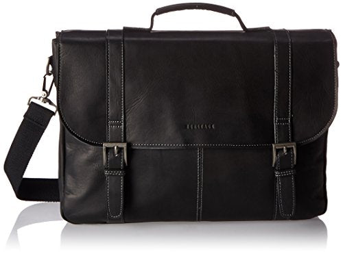 "Heritage Travelware Colombian Leather Dual Compartment 16"" Flapover Laptop Portfolio, Black"