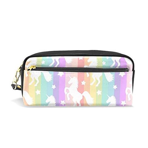 Colourlife Rainbow Unicorn Pu Leather Pencil Case Holder Pouch Makeup Bags For Boys Girls Adults