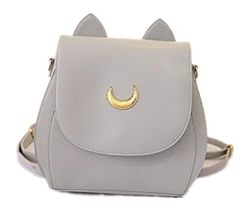 YOYOSHome Sailor Moon Anime Luna Usagi Tsukino Cosplay PU Backpack School Bag (Light Gray)