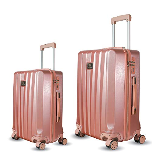 ZM Luggage Sets Hardside Spinner Suitcase PC ABS Built-in Anti-Theft Lock 22in 26in (Rose Gold)