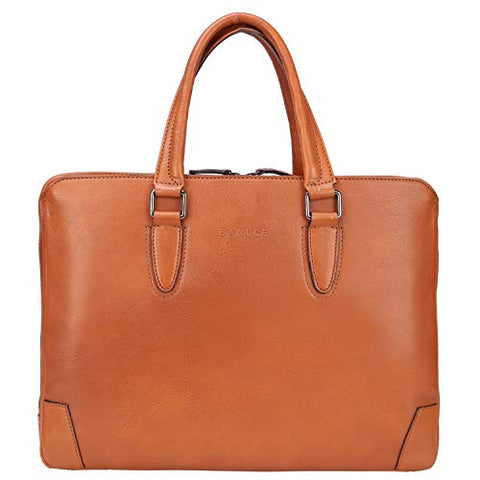 Banuce Vintage Full Grains Italian Leather Briefcase for Men Women Business 14 Inch U-zip Laptop