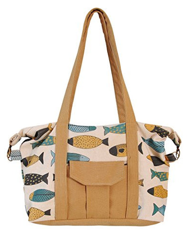 Vintage Fish Retro Style Print Picnic, Shopping Multi-Purpose Canvas Zipper Bag