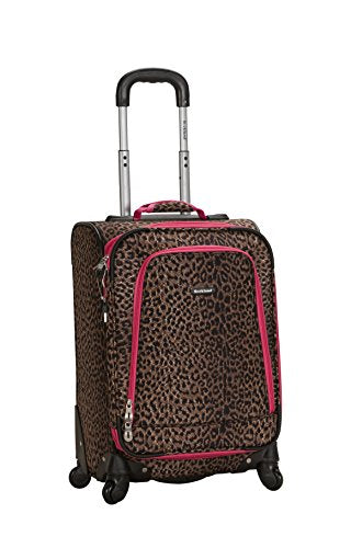 Rockland Luggage 20 Inch Spinner Carry On, Pink Leopard, One Size