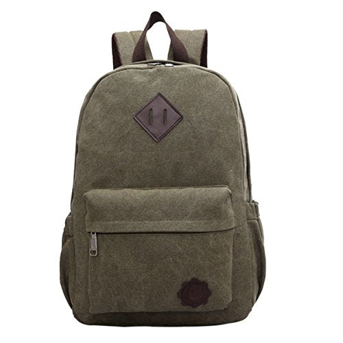 ABage Unisex Classic Canvas Backpack Lightweight Travel College School Bag, Army Green