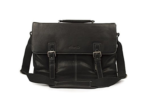 "Kenneth Cole ""Flap-py As Can Be"" Full Grain Cowhide Leather Double Gusset Flapover 14.1"" or 15"" Computer Portfolio, Color Cognac (Black)"