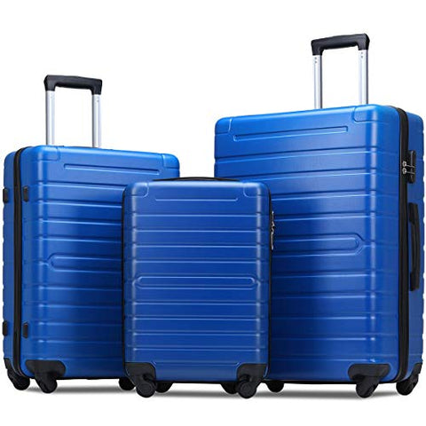 Flieks Luggage Sets 3 Piece Spinner Suitcase Lightweight 20 24 28 inch (Classic Blue)