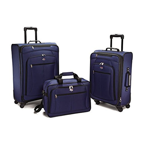 American Tourister Luggage Pop Extra Spinner - 4 Piece Set (One Size, Navy 3PC Set)
