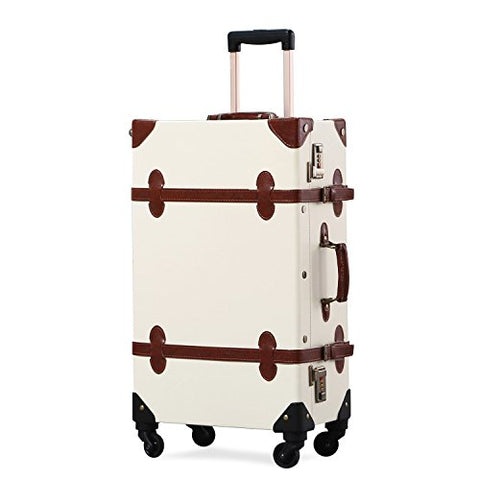 Unitravel Vintage Suitcase Retro PU Trunk Rolling Spinner Lightweight Luggage