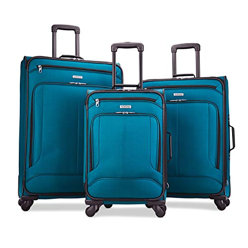 American Tourister Pop Max 3-Piece Softside (SP21/25/29) Luggage Set with Multi-Directional Spinner Wheels, Teal
