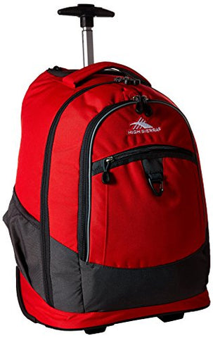 High Sierra Chaser Wheeled Laptop Backpack, Crimson/Mercury