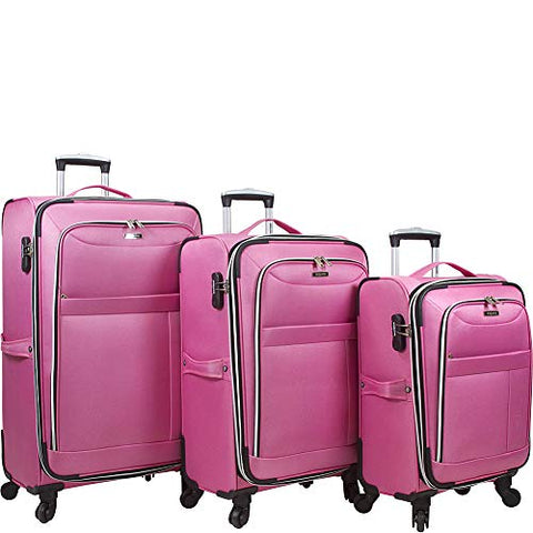 Dejuno Aria Softsided Lightweight 3-Piece Spinner Luggage Set-Pink