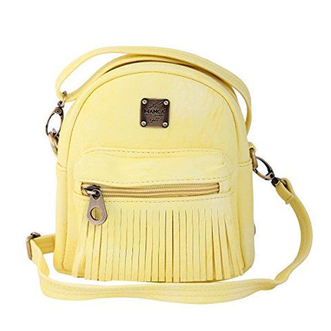Damara Girl's Chic Tassel Zipper Pouch Front Mini Versatile Backpack,Yellow