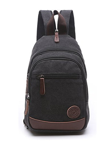 Lightweight Mini Canvas Backpack For Women Girls Purse Small Rucksack Sling Bag (Small, Black 2)