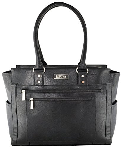 Kenneth Cole Reaction Tote and Tie Single Gusset Top Zip Computer Carry On Tote (Black)