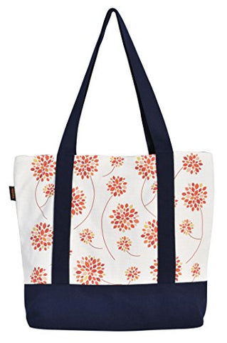 Vietsbay'S Women Floral Designprint Heavyweight White Canvas Handbags